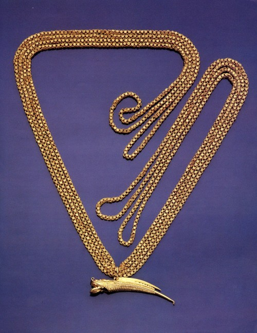 The gold chain and Badge of Office in the form of a whistle that belonged to the Spanish Captain-General who buried the treasure Lord Anson looked for